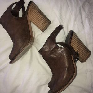 Chocolate leather booties